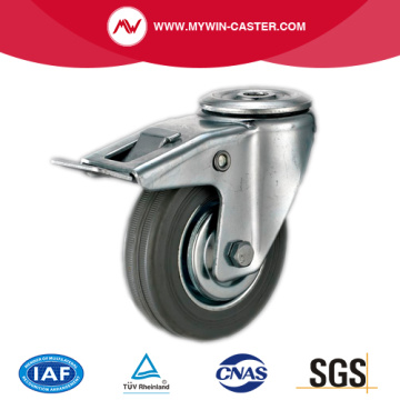 Braked Bolt Hole Swivel Medium Duty Rubber Wheels