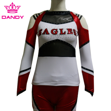 all stars custom metallic long sleeve cheerleading uniforms