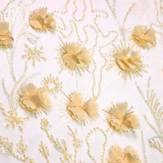 Ligth Yellow Mesh Lace Floral Sequin Fabric