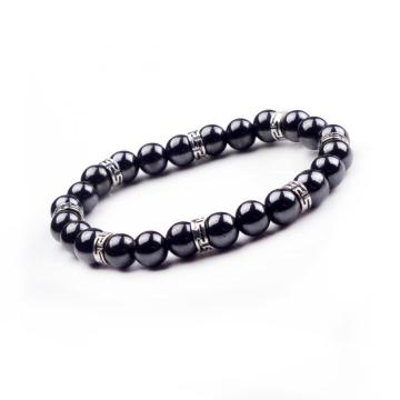 Best Selling Men Natural Magnetite 24 Round Beads Magnetic Bracelet Jewellery