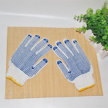 Polycotton Knitted Double Side Blue PVC Dotted Glove