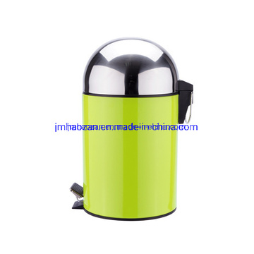Half Round Lid Stainless Steel Pedal Trash Can, Dustbin