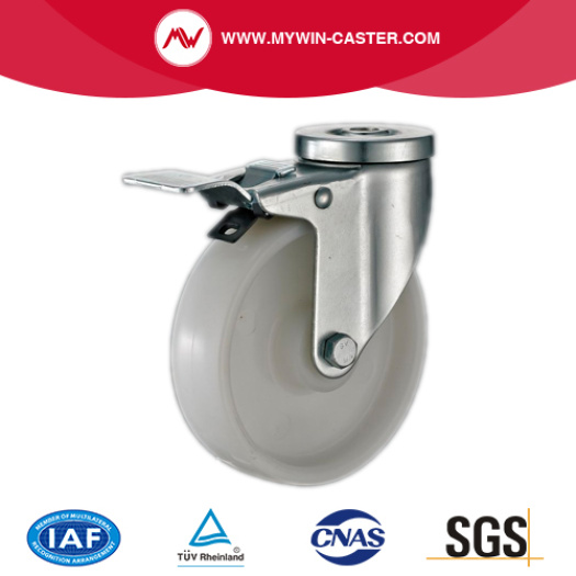 White Nylon Bolt Hole Industrial Casters wheels