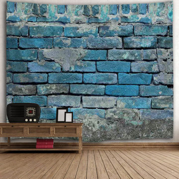 Brick Wall Tapestry Blue Stone Tapestry Wall Hanging Vintage Tapestry Polyester Print for Livingroom Bedroom Home Dorm Decor