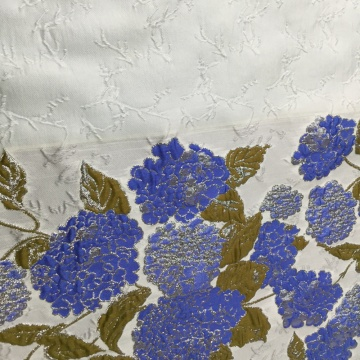 Blue Navy Flower Jacquard Brocade Fabric