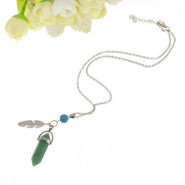 Green Aventurine Feather Hexagonal Prism Pendant Necklace