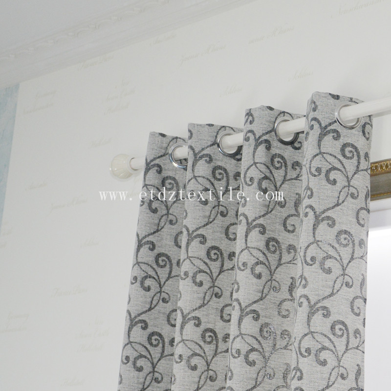 Hot Small Flower  Pattern Jacquard Linen Touching Polyester Curtain Fabric XS2006 Black