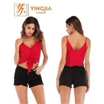Spaghetti Straps Knot Tank Top For Women