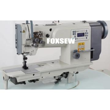 Direct Drive Double Needle Compound Feed Heavy Duty Lockstitch Sewing Machine