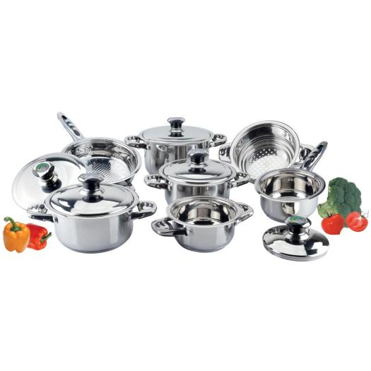 Cookware set with fish handle & therm knob