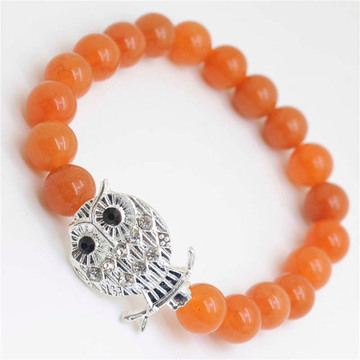 Red Aventurine Gemstone Bracelet with Diamante alloy Owl Piece