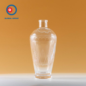 Unique Carved Glass Transparent Bottle
