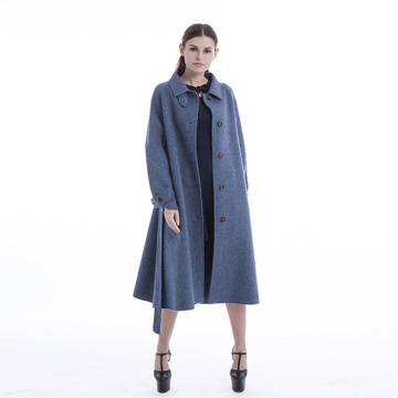 Blue winter coat above the knee