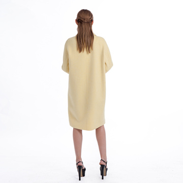 Yellow double-breasted cashmere blended overcoat