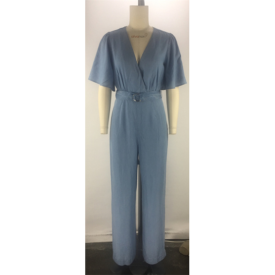 tencel denim short sleeve belt womans ladies jumpsuit
