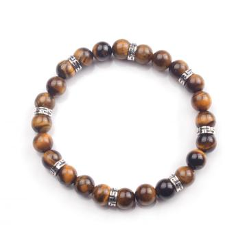 Natural Tiger Eye Stone 8mm Beads Jewelry Pray Bracelet For Men Accessories