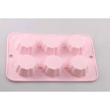 Food Grade 6 Cup Flower Silicone Cupcake Mold