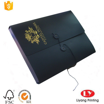 Foldable paper file folder with gold logo