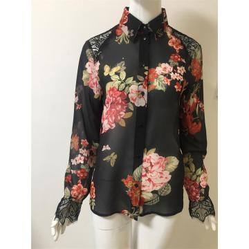 printed chiffon  shirt with lace