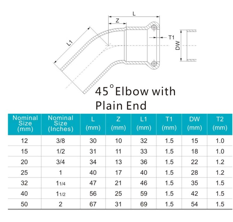 45elbow with plain end