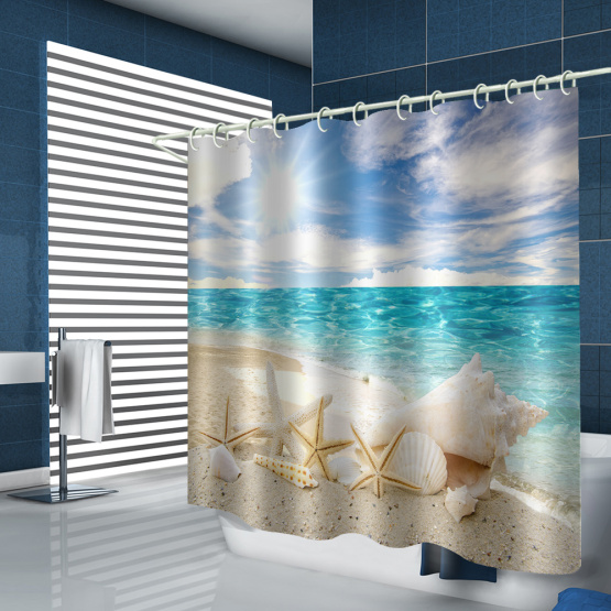 Starfish Conch Waterproof Shower Curtain Blue Sea Beach Bathroom Decor