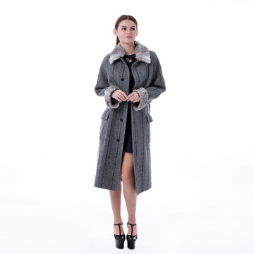 Fashionable grey cashmere overcoat