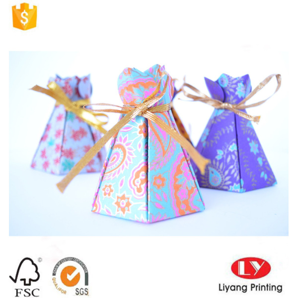 New paper gift box with ribbon closure