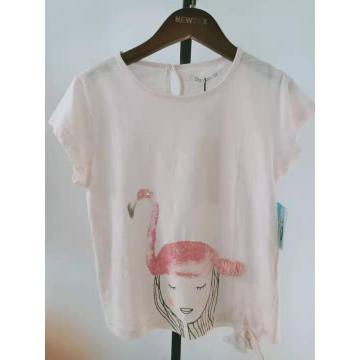girls cotton knit flamingo print short sleeve top