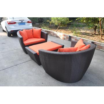 3pcs orange rattan aliminum frame sofa set