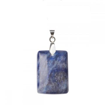 Natural Blue Aventurine Women Chakra Rectangle Gemstone Pendant Necklace