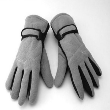 Grey Color Double Layers Winter Warm Fleece Gloves