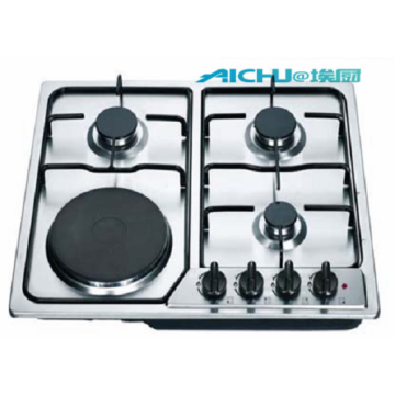 Gas Hob With  Black Tempred Glass Panel