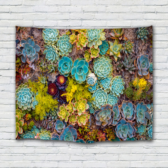 Succulent Plants Tapestry Green Blue Yellow Flower Colorful Tapestry Wall Hanging for Livingroom Bedroom Dorm Home Decor