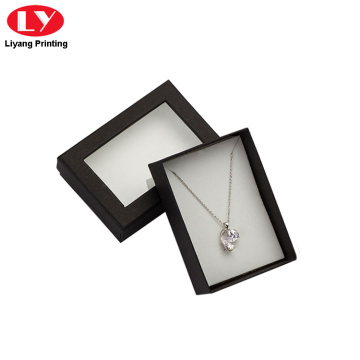 custom necklace paper box with clear window