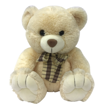 Creamy Bow Teddy Bear Plush