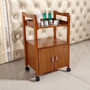 Spa salon  beauty wooden trolley cart
