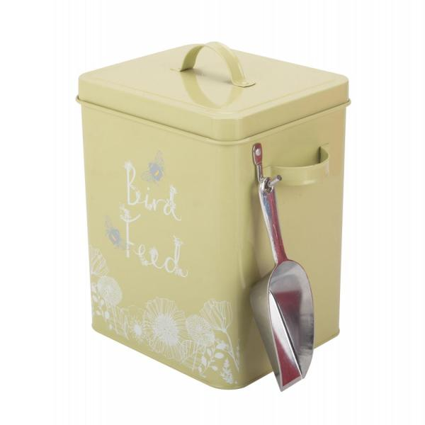 Color-coated bird feed storage container with scoop
