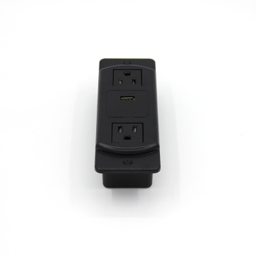 2 Sockets Black Recessed Power Stripe