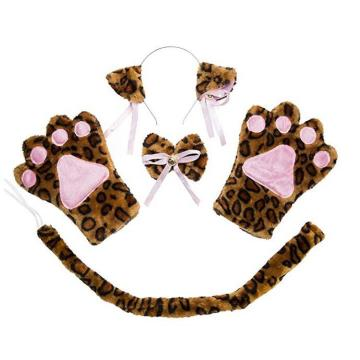 Cosplay Cat Kitten Tail Ears Set Collar Gloves
