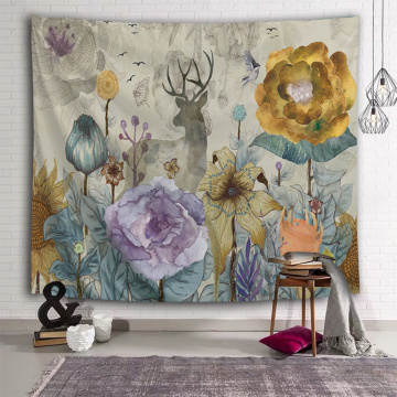 Flower Deer Tapestry Nature Watercolor Wall Hanging Yellow Tapestry for Livingroom Bedroom Home Dorm Decor
