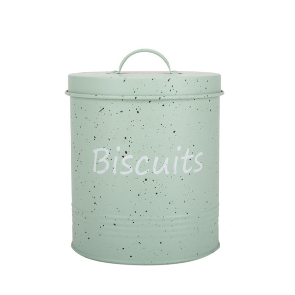 Harbour Housewares Metal Biscuit Tin - Cream