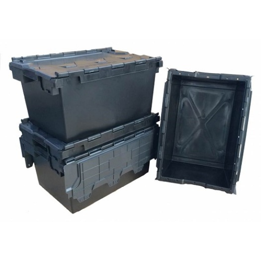 Hinged Lid Moving Turnover Box Reusable Plastic Crate
