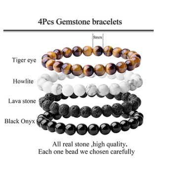 8mm gemstone gem treatment crystal elastic bead bracelet