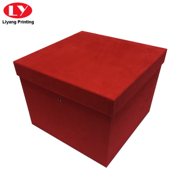 Custom Logo Large Velvet Flower Gift Box Red