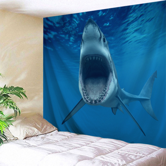 Shark with Big MouthTapestry Blue Animal Wall Hanging Horrible Blue Tapestry for Children Livingroom Bedroom Home Dorm Decor