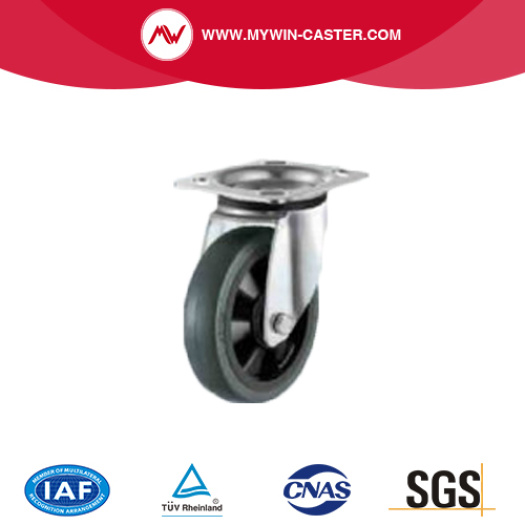 Elastic rubber caster with nylon core