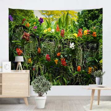 Flowers Plants Tapestry Wall Hanging Forest Green Flowers Rattan Nature Style Tapestry for Livingroom Bedroom Dorm Home Decor