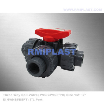 PPH Ball Valve Three Way Socket Fusion