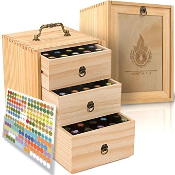 75 Bottles Roller Balls 3 Tier Space Saver Wooden essential oil box Storage Case