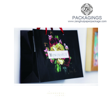 Logo Printed paper Bag With Ribbon Handle